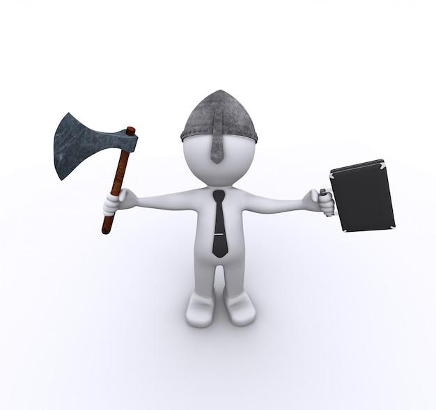 斧とケースを持つ積極的な企業労働者 Premium写真