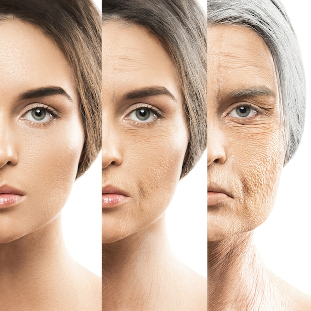 Aging concept. young and old comparision. Premium Photo