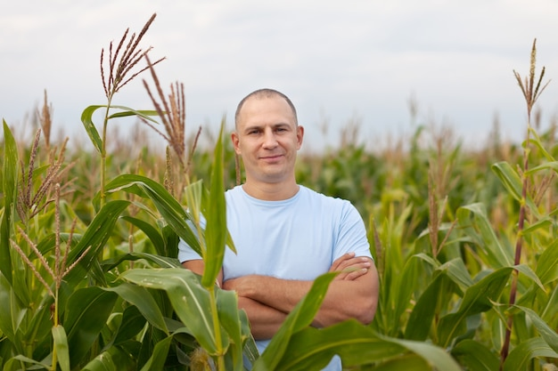 Agriculturist in field of corn Free Photo