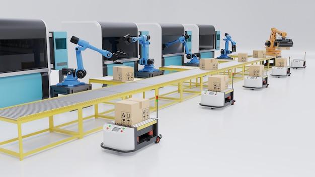 Автоматизация производства с agv, 3d-принтерами и роботизированной рукой, 3d-рендеринг Premium Фотографии