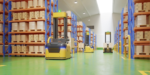 Agv forklift trucks-transport more with safety in warehouse,3d rendering Free Photo