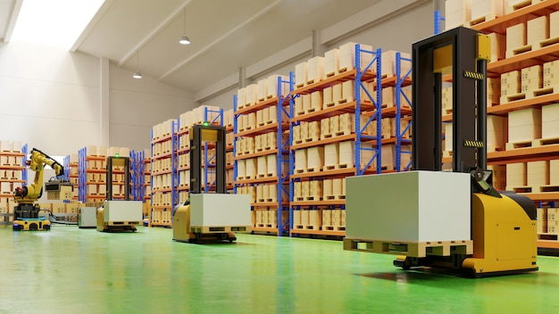 Agv forklift trucks-transport more with safety in warehouse. Free Photo