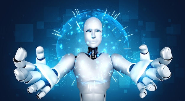 Ai humanoid robot holding hologram screen shows concept of global communication Premium Photo