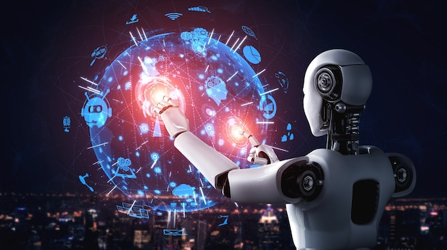 Ai humanoid robot touching hologram screen shows concept of global communication Premium Photo