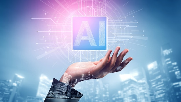 Ai learning and artificial intelligence concept. Premium Photo