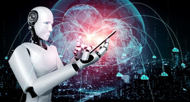 クラウドコンピューティング技術を利用してオンラインサーバーにデータを保存するaiロボット Premium写真
