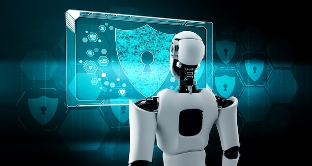 Ai robot using cyber security to protect information privacy Premium Photo