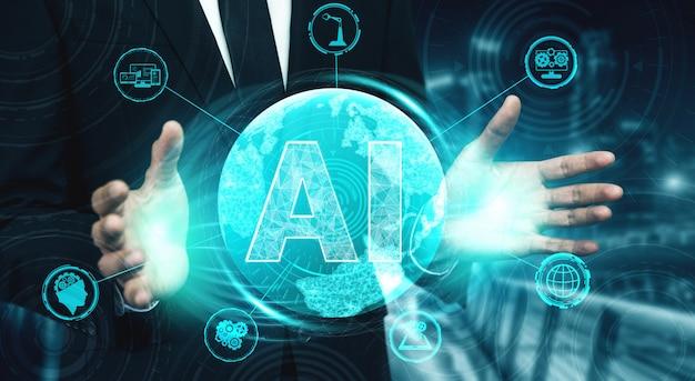 Ai学習と人工知能のコンセプト。 Premium写真