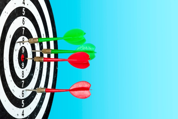 Aim with arrows in the center. hit the target. space for text Premium Photo
