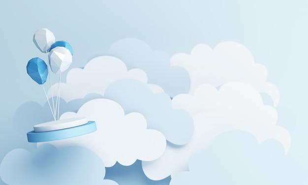 블루 파스텔 하늘 배경 3d 렌더링 공기 풍선 종이 아트 스타일 및 제품 스탠드 프리미엄 사진