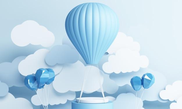 블루 파스텔 하늘 배경 3d 렌더링 공기 풍선 종이 아트 스타일 프리미엄 사진