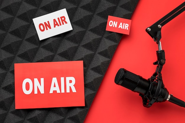 On air banners and microphone Premium Photo