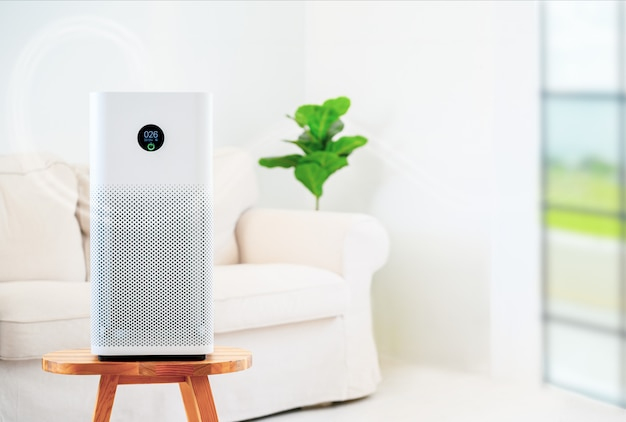 Air purifier in the living room Premium Photo