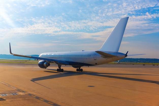 Aircraft in airport preparing to take off Premium Photo