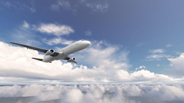 Aircraft over cloud blue sky Premium Photo