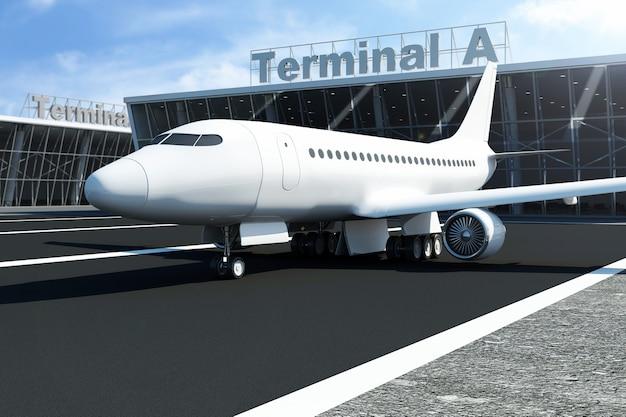 Самолет в аэропорту ждет возле терминала Premium Фотографии