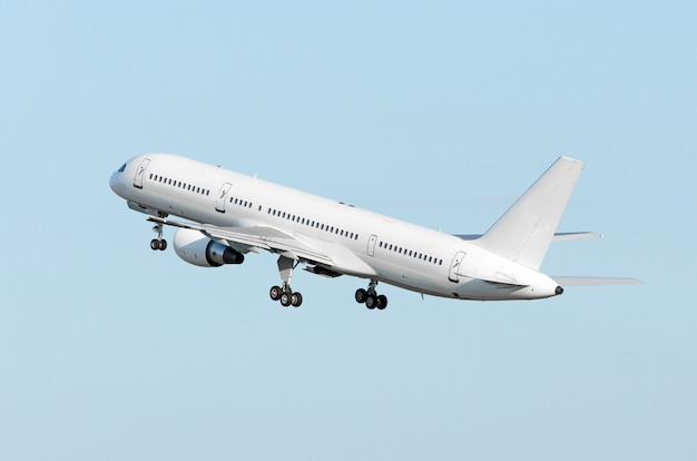 The airplane climbs hight flight cloud sky. Premium Photo