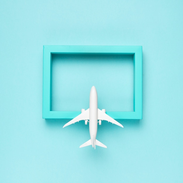 Airplane flying to blue destination Free Photo