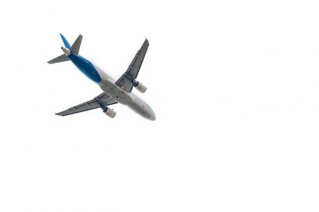 Airplane takes off from international airport isolated on white Premium Photo
