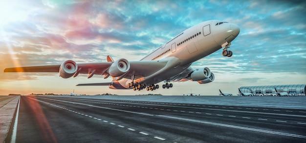 Самолет взлетает из аэропорта. Premium Фотографии