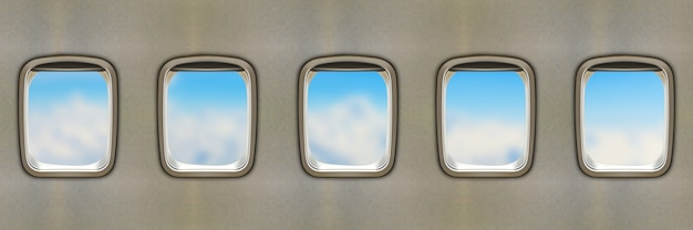 Airplane windows Premium Photo