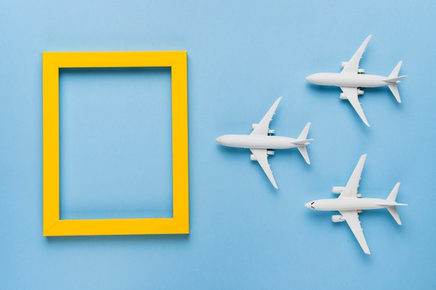 Airplanes flying to destination Free Photo