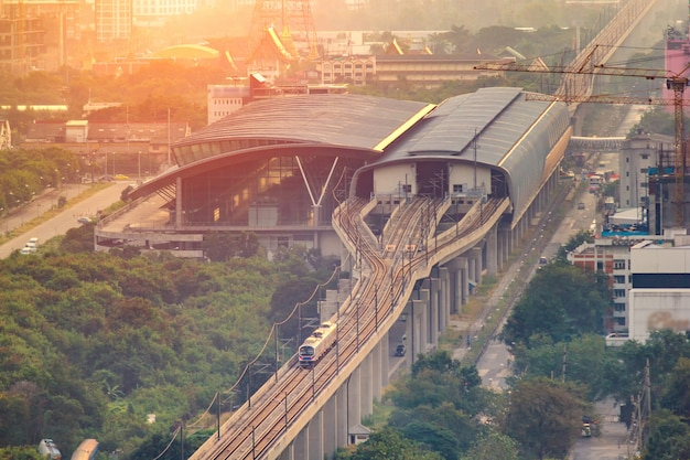 The airport rail link is an express and commuter rail Premium Photo