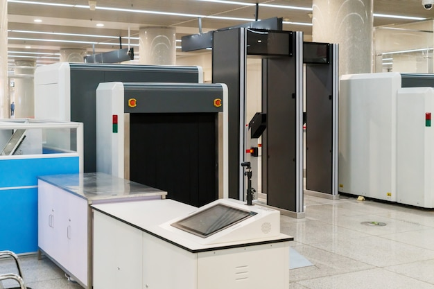 Airport security check point with metal detector Premium Photo