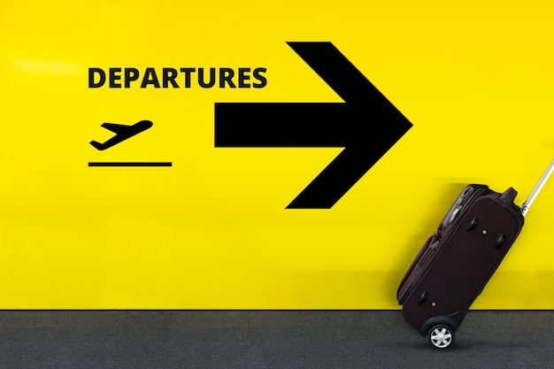 Airport sign with airplane icon Premium Photo