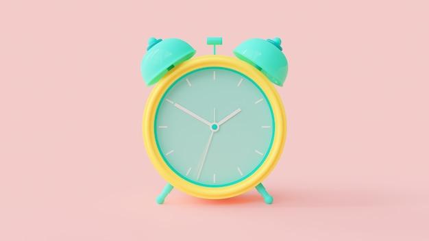 目覚まし時計の緑と黄色の色。 Premium写真