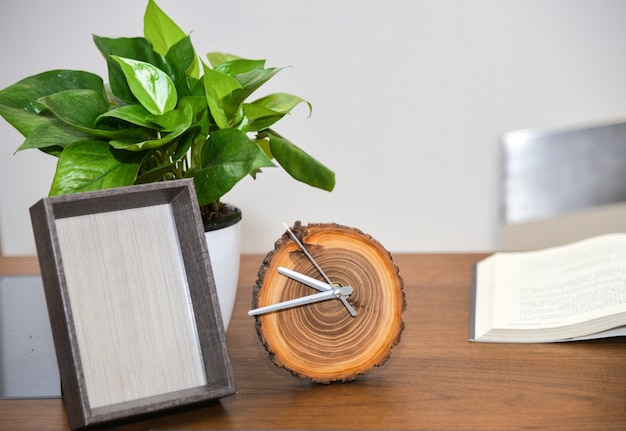 Alarm clock and plant on the desktop Free Photo