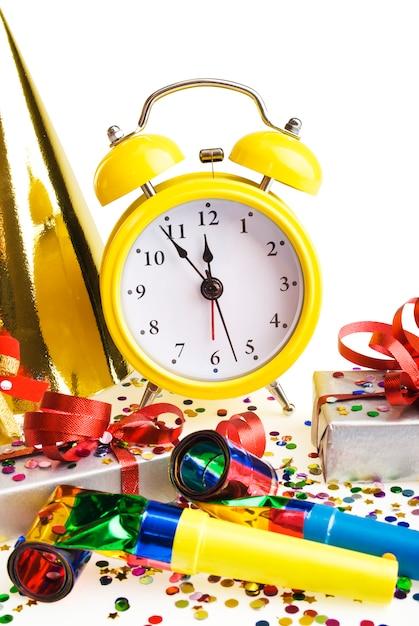 Alarm clock with christmas presents Premium Photo