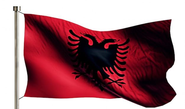 Bandiera nazionale albania isolato 3d sfondo bianco Foto Gratuite