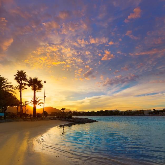 Alcudia majorca at sunset on the beach mallorca Premium Photo