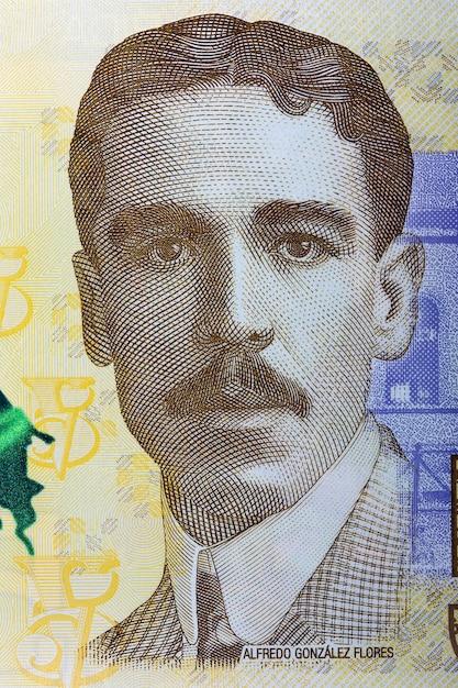 Alfredo gonzalez flores portrait from costa rican banknote Premium Photo