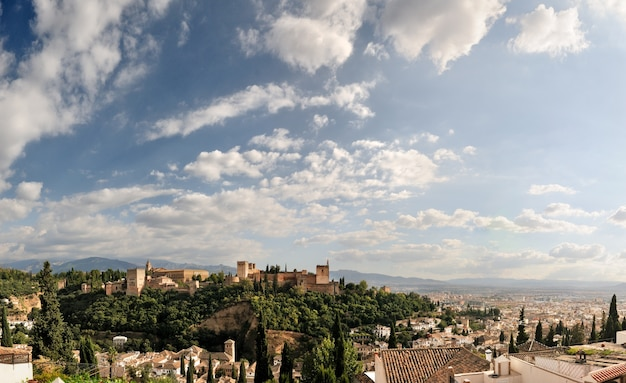 Alhambra and granada with blue sky Free Photo