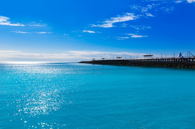 Alicante modern breakwater in mediterranean spain Premium Photo
