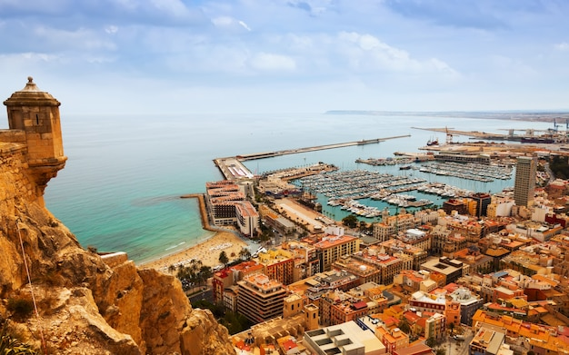 Alicante with docked yachts from castle. spain Free Photo