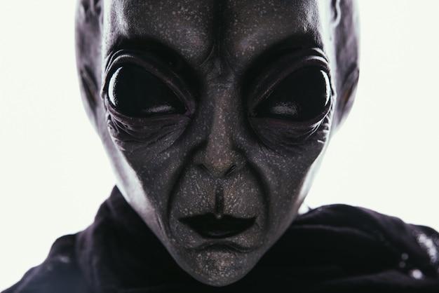 エイリアンの生き物には人間へのメッセージがあります。他の惑星の肖像シリーズのグレーのようなヒューマノイド。 Premium写真