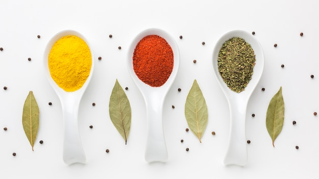 Aligned spoons with spicy powder Free Photo