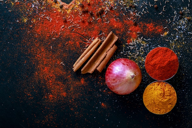 All indian spices Premium Photo