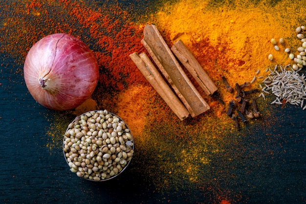 All indian spices Premium Photo