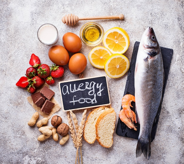 Allergy food concept. assorted of allergic products Premium Photo