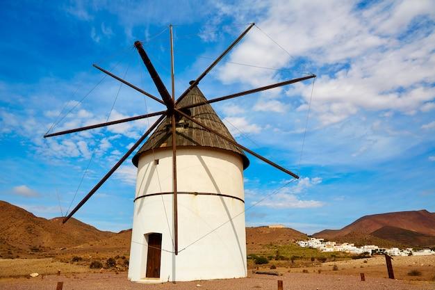 Almeria molino pozo de los frailes windmill spain Premium Photo