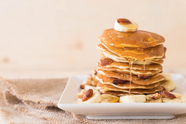 Almond banana pancake Free Photo