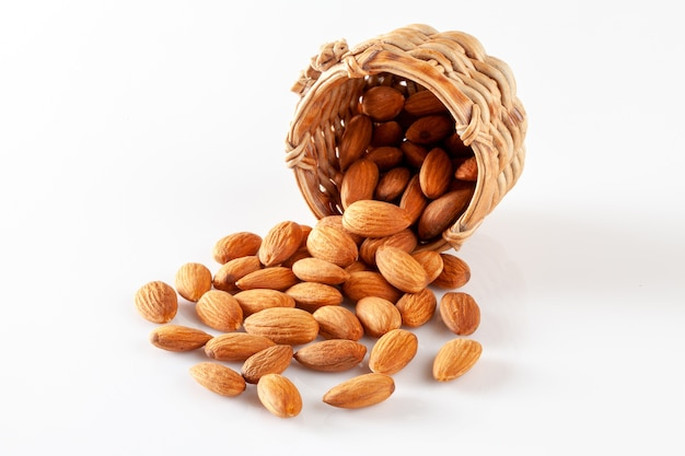Almonds isolated on a white background Premium Photo