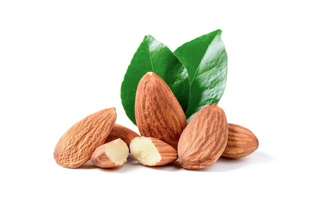 Almonds nuts with leaf isolated on white background, Premium Photo