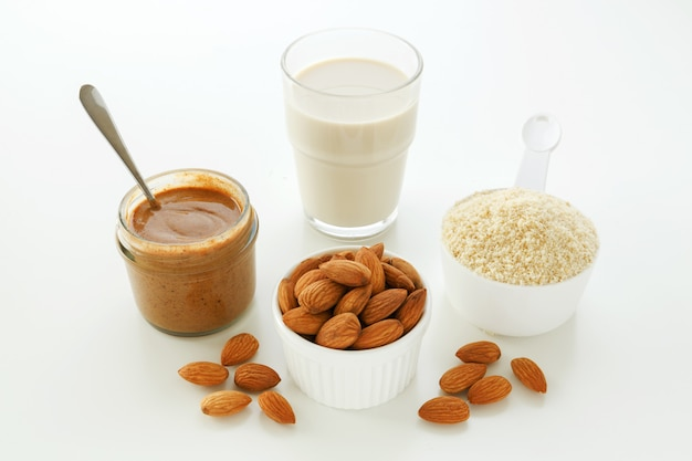 Almonds and products from almond Premium Photo