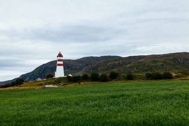 Alnes lighthouse near alesund; norway Free Photo