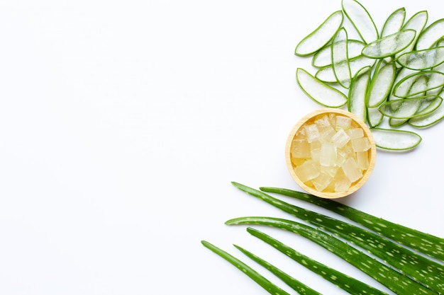 Aloe vera is a popular medicinal plant for health and beauty, white background. Premium Photo